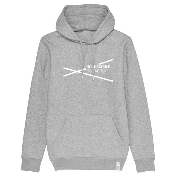 Unisex Organic Hooded Sweatshirt, heather grey, modern