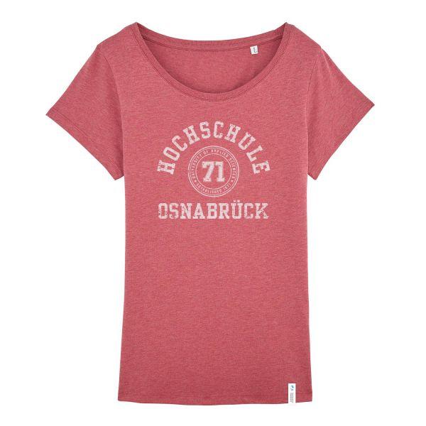 Damen Organic T-Shirt, heather cranberry, college